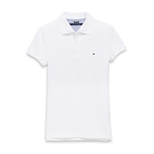 Tommy Hilfiger Damen Poloshirt, Polo, Plain Logo Polo Shirt, White, S -