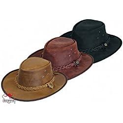 Scippis - Lederen hoed Hooley - Marrón, L/59-60cm