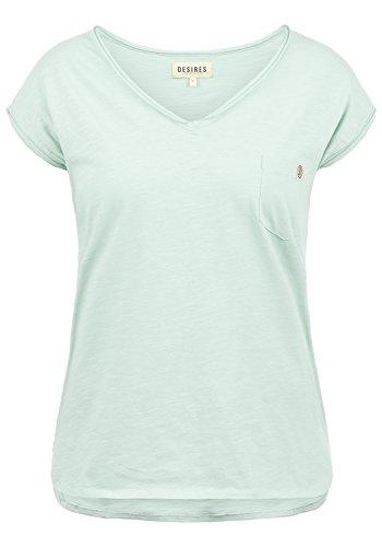 DESIRES Lynn Damen T-Shirt Kurzarm Shirt mit V-Ausschnitt und Brusttasche Aus 100% Baumwolle, Größe:XXL, Farbe:Blue Glow (1252)