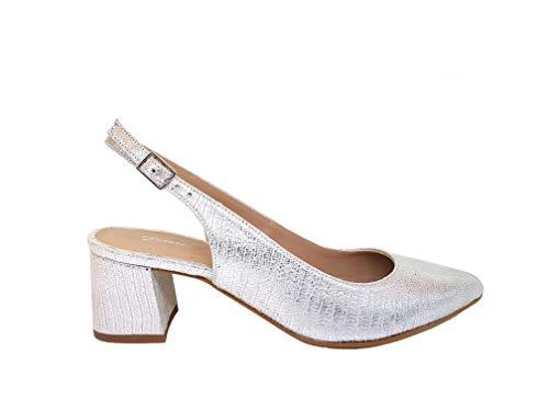 GENNIA - THYRILING - Zapatos Destalonados Estampados de Vestir para Mujer en Piel con Punta Fina y Tacón...