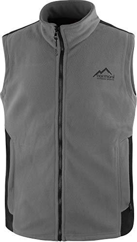 normani Herren Fleeceweste mit Reißverschlusstaschen und Stehkragen - warm, leicht 280 g/m² - ZIP-T3K System Farbe Grau/Schwarz Größe XL