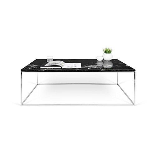 Paris Prix - Temahome - Table Basse Gleam 120cm Marbre Noir & Métal Chromé
