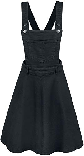 Hell Bunny Damen Latzkleid Dakota Pinafore (Schwarz, Large)