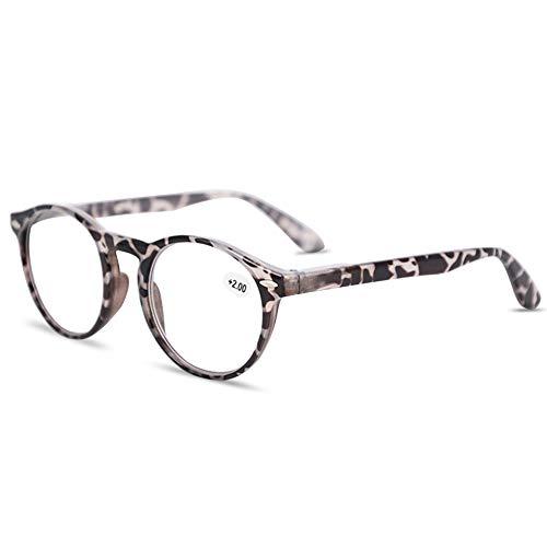 VEVESMUNDO® Lesebrillen Damen Herren Federscharniere Retro Runde Lesehilfe Sehhilfe Arbeitsplatzbrille Nerdbrille Hornbrille mit Stärke Schwarz Leopard Blau Rot Brau (+2.0, Grau und Leopard)