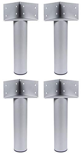 Gedotec Bettwinkel Eck-Verbinder Metall Bettbeschlag mit Möbelfuß | Bettfuß zum Schrauben | Eckwinkel für schwere Lasten | Höhe 317 mm | Stahl R 9006 weißaluminium | 4 Stück - Möbel-Bein für Betten
