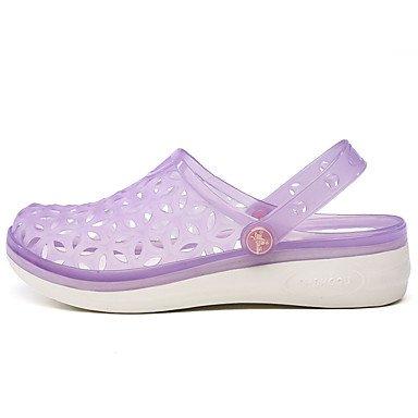 CH&TOU Damen-Sandalen-Lässig-PVC-Flacher Absatz-Komfort-Blau / Gelb / Rosa / Lila Purple
