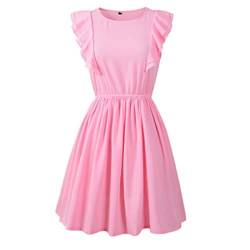 HHFF Kleid lässig Rundhalsausschnitt gekräuselte ärmellose einfarbig Minikleid Damenbekleidung