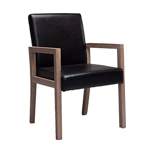 Esszimmerstühle YXX schwarzem Leder mit Holzbeinen, moderner Sessel/höhenverstellbare Computerstühle/Tischstühle (größe : Set of 6)