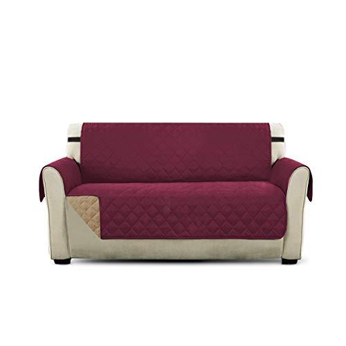 PETCUTE Lujo Cubre para Silla Fundas de Sofa Protector de sofá o sillón, Dos o Tres plazas Vino Rojo 2 plazas