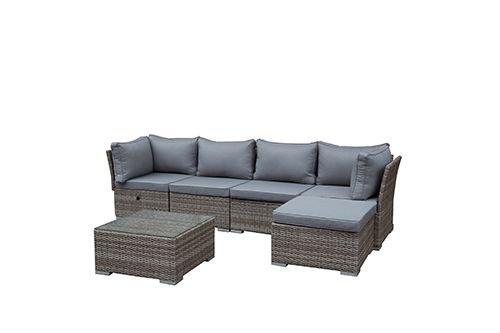 greemotion Rattan-Lounge Toronto - Gartenmöbel-Set 6-teilig aus Polyrattan in Braun-Beige mit...