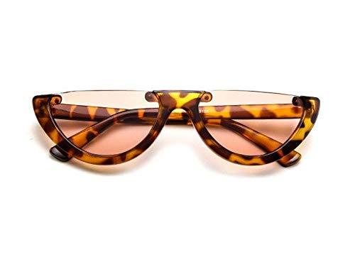 WSKPE Sonnenbrille,Cool Trendige Hälfte Frame Sonnenbrille Cat Eye Sonnenbrille Frauen Sonnenbrille Leopard Frame Champagne Linse
