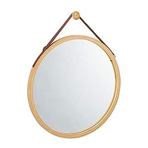 Relaxdays Hängespiegel rund, verstellbarer Riemen, Rahmen aus Bambus, modern, Flur, Bad & Gäste WC, ∅: 45 cm, natur
