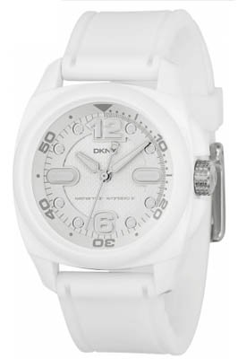 DKNY NY4899 Unisex Silver Dial White PU Strap Watch
