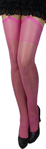 2 Paar klassische elastische Strapsstrümpfe alle Farben zum Anstrapsen Strapse Strümpfe 20 den (rosa/pink)