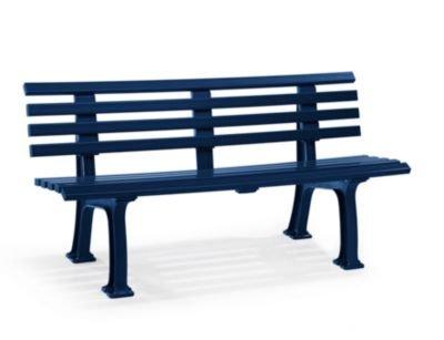 Parkbank aus Kunststoff - mit 9 Leisten - Breite 1500 mm, stahlblau - Bank Bank aus Holz\, Metall\, Kunststoff Bänke aus Holz\, Metall\, Kunststoff Gartenbank Kunststoff-Bank...