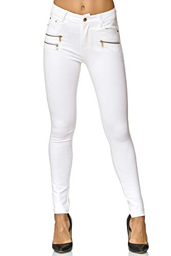 Elara Damen Stretch Hose | Skinny Jegging | Slim Fit | Chunkyrayan H86-9 White 38
