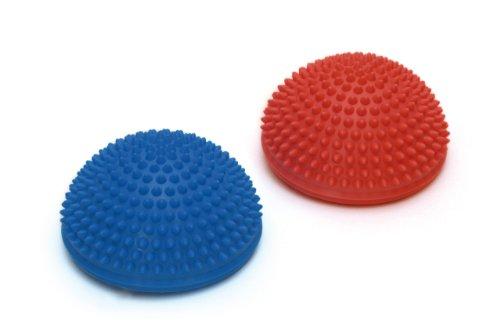 SISSEL Spiky Dome, Balance-Kugel, Gymnastik Igelball mit Noppen, 2-er-Set, blau und rot (Nicht Teuer, Zeitschriften)