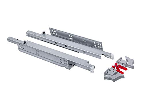 Gedotec Schubladenschienen Vollauszug 550 mm Schubladen-Auszug mit Dämpfung   Teleskopschienen MOOVIT   Tragkraft 30 kg   Schienen für Holz-Schubkästen   1 Paar - Auszüge aus Stahl mit Kupplungen