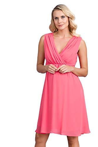 M.M.C. Chiffon Umstands-Kleid im Empire-Stil - Damen Gerafftes Abendkleid Cocktail-Schwangerschaftskleid - Partykleid V-Ausschnitt Knielang Ärmellos (Koralle, 40) (Chiffon V-ausschnitt Cocktail)