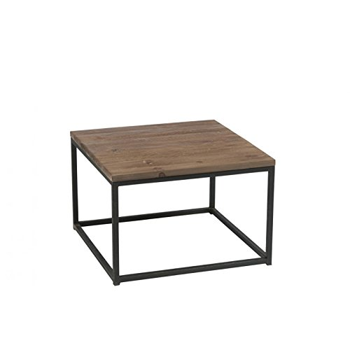 J Line Table Basse Bois Brut Et Metal Noir Amazon Fr