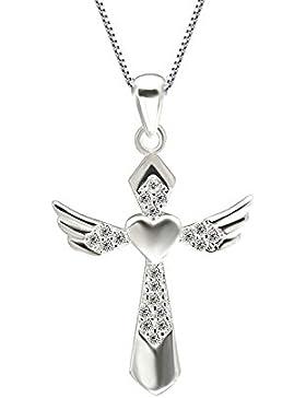 lanmpu Sterling Silber Kreuz mit Cubic Zirkonia Anhänger Halskette für Frauen und Mädchen, 46cm Box Kette