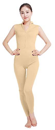 SK Studio Frauen Einteilige Unitard Bodysuit Ärmellos V-Ausschnitt Lycra Spandex Haut Feste elastische Ganzanzug Tanz Yoga Kostüm