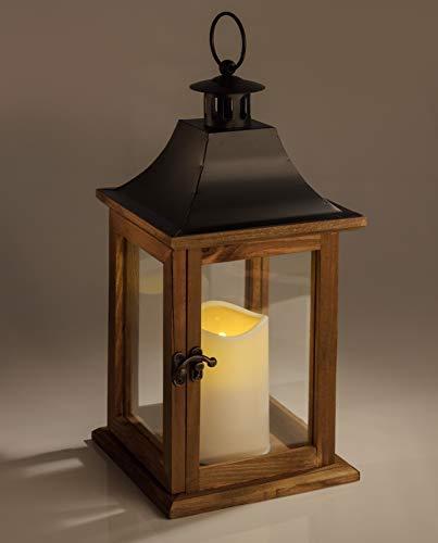 STAR LED Laterne mit Kuststoffkerze braunes Holz
