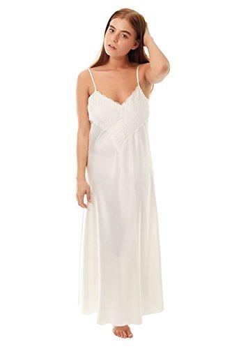 Elegant lungo nastro di raso da donna Sexy camicia da notte/Chemsie in bianco, avorio, Rosso, Navy, Nero, Colore Blu, Viola, Rosa dimensioni 8-26 Crema