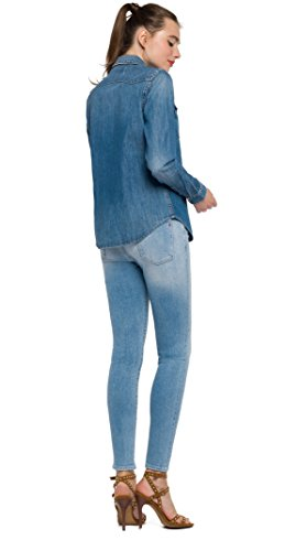 REPLAY Jeanshemd, Camicia Donna Blu (Mid Blue 9)
