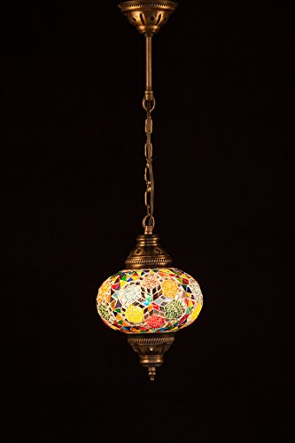 Handmade Turkish Lamp Moroccan Ottoman Style Mosaic Oval Mosaic Hanging Lamp Single Chain Lights Home Bedroom Restaurant Cafe Decoration Light Size 3 Multi Flower