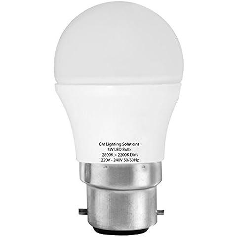 NEW 5W LED bianco caldo, dimmerabile, lampadina sferica B22(Confezione da 5)
