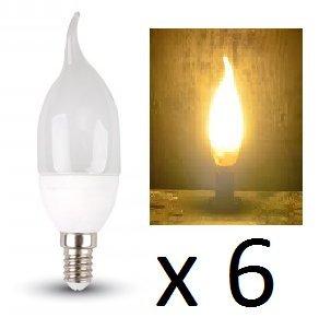E14LED Kerze Leuchtmittel–6Stück–E14Verschraubungen/Flame Tip Finish/320Lumen–4W Power 2700K/WARM WEIß/200Grad Beam/20.000Stunden Lebensdauer