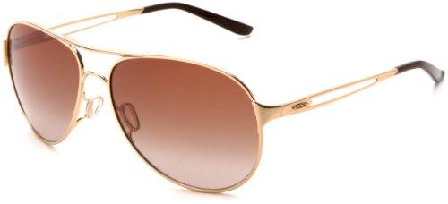 Oakley Damen Caveat Aviator Sonnenbrille, Polished Gold/Dark Brown Gradient