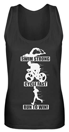 Triathlon Sprüche T-Shirt - Laufen Schwimmen Rad Fahren Mehrkampf Triathleten Geschenk - Frauen Tanktop -M-Schwarz - Schwimmen T-shirt Sprüche