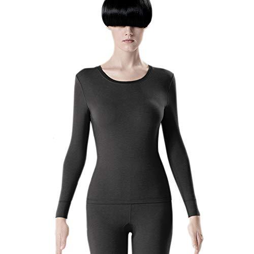 Aida Bz Natürliche Wolle Damen Thermo-Unterwäsche, Rundhals Herbstkleidung Silver Skin 5 antibakterielles atmungsaktives System-Top-Shirt,Darkgray,M - Scoop Neck Thermal Top