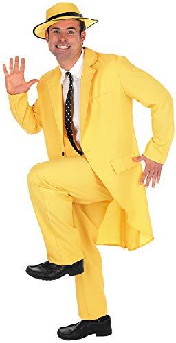 Fancy Me 5 Stück Herren 1990s 90s Jahre Die Maske Jim Carrey Promi Kostüm Kleid Outfit M-XL - Gelb, Gelb, - Jim Carrey Kostüm