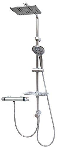 Duschset mit Thermostat Brauseset Duschsystem Brause Set 100cm Duschstange Regendusche Kopfbrause Überkopfbrause Komplettdusche Brausestange Duschbrause variabler Halter -90cm Duschgarnitur Chrom