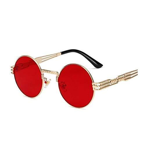 Runde Sonnenbrille Männer Frauen Legierung Brillen Kreisform Marke Designer Sonnenbrille Spiegel Hohe Qualität Uv400 (Lenses Color : Gold frame red lens)