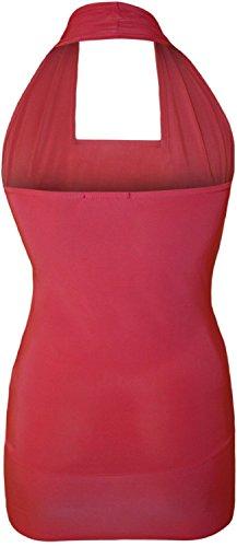 Fast Fashion - Robe Haut Plus La Taille De Cou De Halter De Sequin Knot L'avant - Femmes Fuchsia