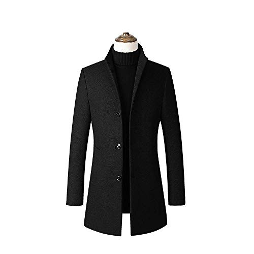 Herren Mantel Wolle Wollmantel mit Stehkragen PEA Coat Trenchcoat Lange Single Double Breasted Business Coat für den Winter,Schwarz,M