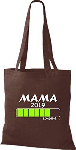 ShirtInStyle Stoffbeutel Baumwolltasche Loading MAMA 2019 Braun