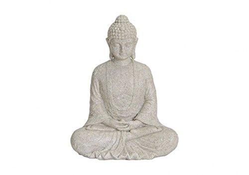 Buddha Figur meditierend 25cm in ALTWEISS, Deko Artikel für Garten & Haus, Buddha-Skulptur, Wohnaccessoire ideal als Geschenk, schöne Thai Statue