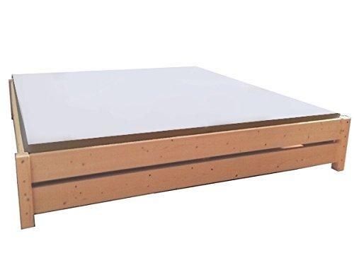 Premium Futon Bett Holzbett für hohe Matratzen, Massivholzbett 90 100 120 140 160 180 200 x 200cm hergestellt in BRD (180cm x 200cm)