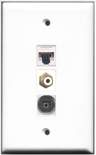 RiteAV-1Port RCA und 1Port Toslink und 1Port Cat5e Ethernet White Wall Plate Decora Insert Flush