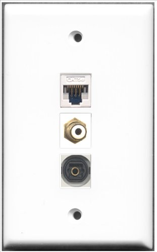 Keystone Modular Wall Plate (RiteAV-1Port RCA und 1Port Toslink und 1Port Cat5e Ethernet White Wall Plate)