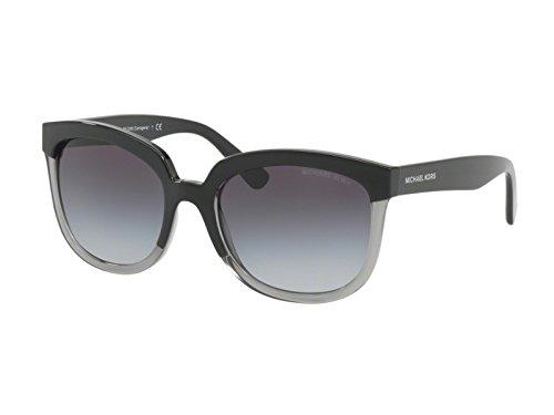 Michael kors palma 328011 55, occhiali da sole donna, nero (black/transparent grey/gradient)