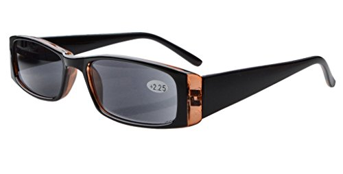 Eyekepper Bisagras de resorte Gafas de lectura rectangulares Lectores de sol(Lentes grises, +0.50)