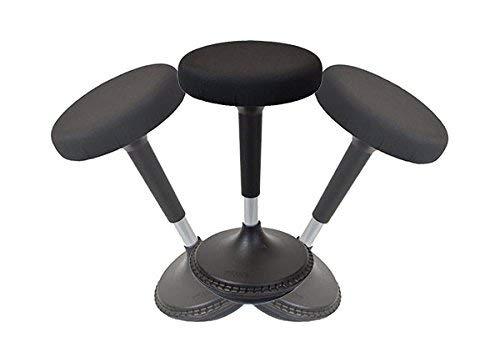 Uncaged Ergonomie Wobble Hocker 2, hoch höhenverstellbar aktives Sitzen, Bürostuhl, Hocker und ergonomisches Stehpult Drehgelenk, Schwarz (wsr-b)