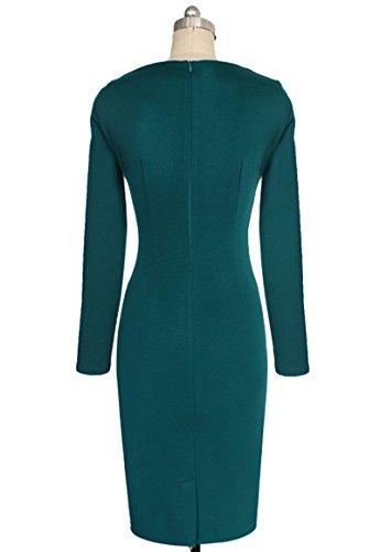 U8Vision Damen Langarm Kontrast Bleistiftkleid Elegant Business Kleid Partykleid Geschäftskleidung Gr.S-XXXL Grün