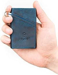 JIVANER Ultra Slim: Cartera Hombre de Piel Azul - Cartera Minimalista - Tarjetero RFID Bloqueo - Billetera Monedero pequeña y Delgada - Mini portamonedas de diseño y Elegante